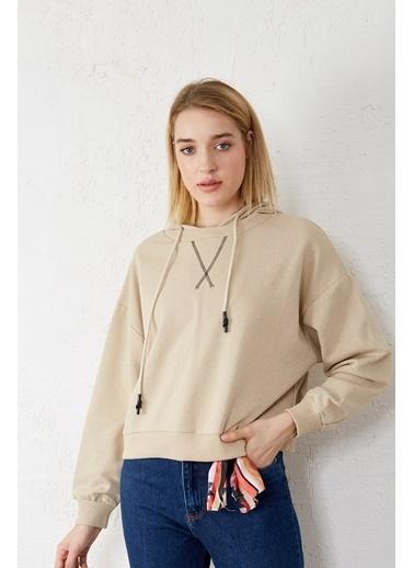 EKA Kapişonlu Bağcıklı Uzun Kol Sweatshirt Bej